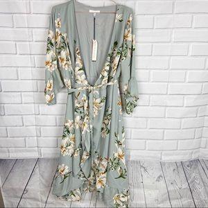 June & Hudson floral ruffle flounce wrap dress M